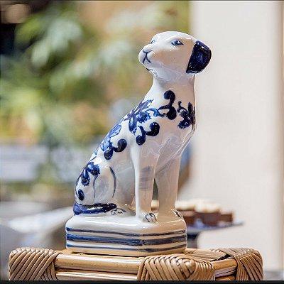 Cachorro de cerâmica Azul e Branco