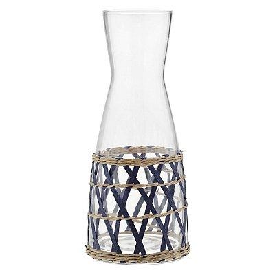 Jarra de vidro com Palhinha Azul
