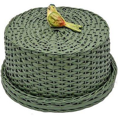 Boleira de Vime Verde com Periquito
