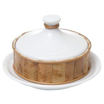 Manteigueira Redonda com Bambu