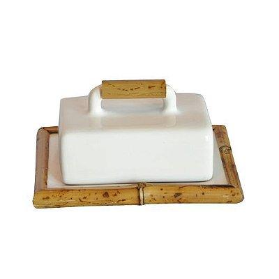 Manteigueira de Cerâmica e Bambu