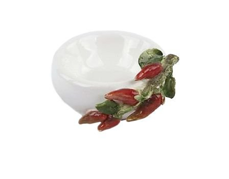 Mini saleiro/pimenteiro de cerâmica com pimentinhas