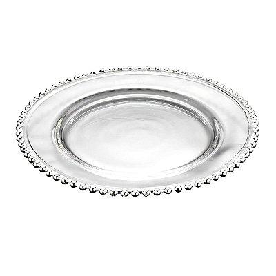 Sousplat Cristal de Chumbo com Bolinhas Prata
