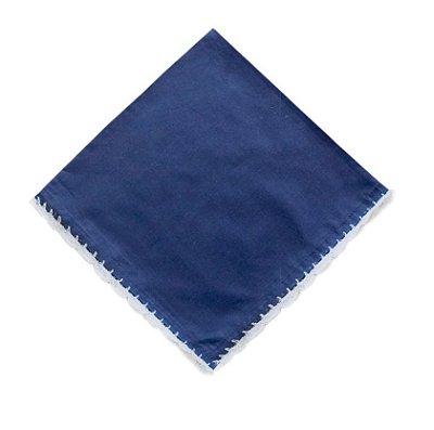 Guardanapo Azul Marinho Bico Crochê Branco