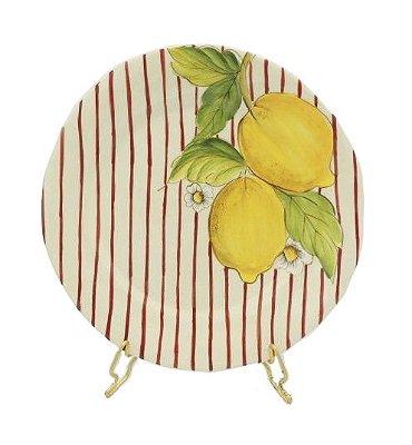 Prato sobremesa Limão Siciliano Listras Rouge de Fer Zanatta Casa