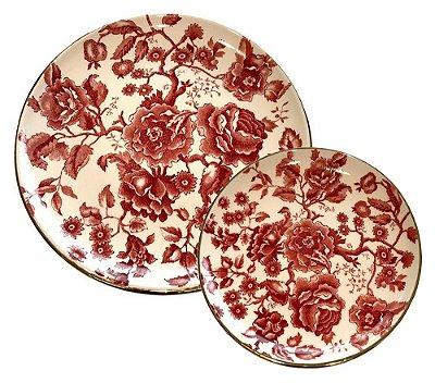 Set Prato raso e sobremesa Flores Rouge de Fer