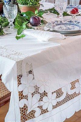 Toalha de mesa em linho Richelieu com 8 guardanapos (1,40 x 3m)