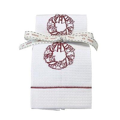 Kit de Natal: 2 toalhas lavabo bordadas guirlanda vermelha