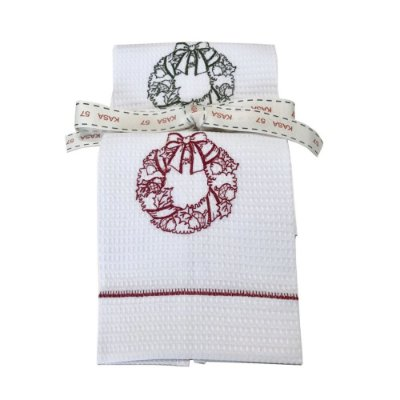Kit de Natal: 2 toalhas lavabo bordadas guirlanda verde e vermelha