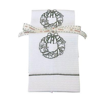 Kit Natal: 2 toalhas lavabo bordadas guirlanda verde