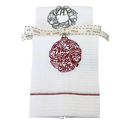 Kit Natal: 2 toalhas lavabo bordadas guirlanda e bola verde/vermelha