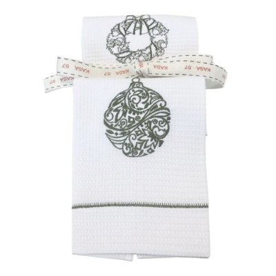 Kit de Natal: 2 toalhas lavabo bordadas guirlanda e bola verde