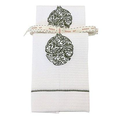 Kit de Natal: 2 toalhas lavabo bordadas bola verde