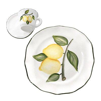 Set Prato sobremesa e xícara Limão Siciliano