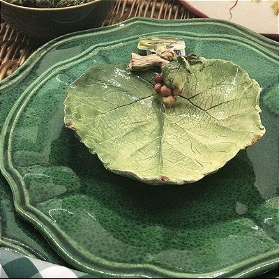 Prato Raso Verde e Bowl Folha de Uva