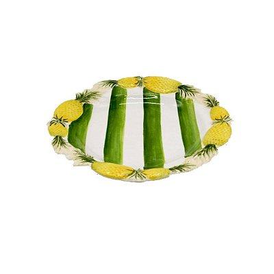 Prato fundo de Abacaxi com listras