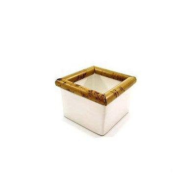 Porta Adoçante de Cerâmica e Bambu