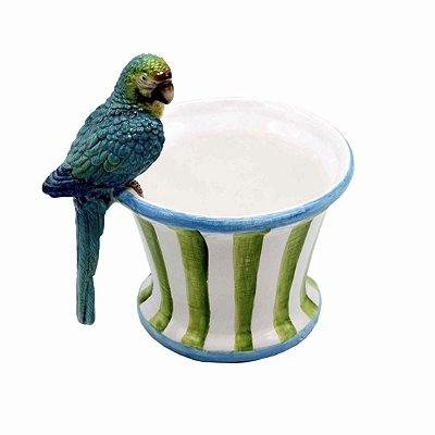 Cachepot lListrado com Papagaio