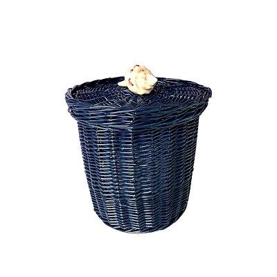 Lixeira de Vime Azul Marinho Concha