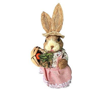 Coelha de Palha Rosa com Cesta