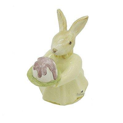Mini Coelha de cerâmica com Bolo Zanatta Casa