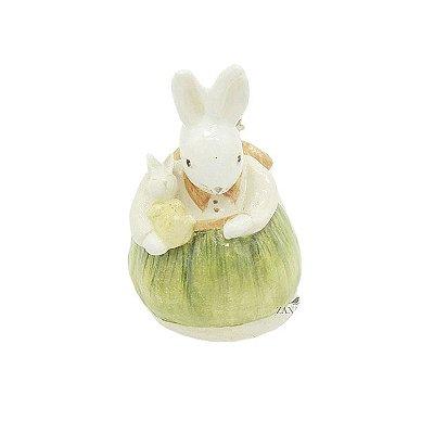 Mini Coelha de cerâmica com Bebê Zanatta Casa