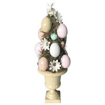Topiaria De Ovos e Flores em Cerâmica