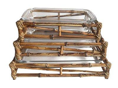 Travessas com Suporte de Bambu (jogo com 3)