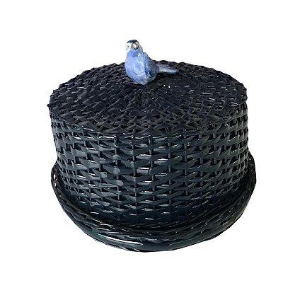 Boleira de Vime Marinho com Passarinho Azul