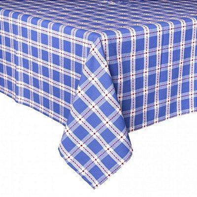 Toalha de Mesa Xadrez Azul Pespontada de vermelho quadrada