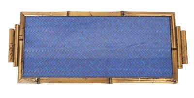 Bandeja de Bambu com Palhinha Azul e Vidro