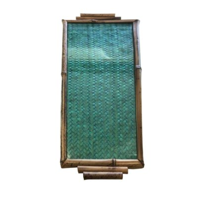 Bandeja de Bambu com Palhinha Verde e Vidro
