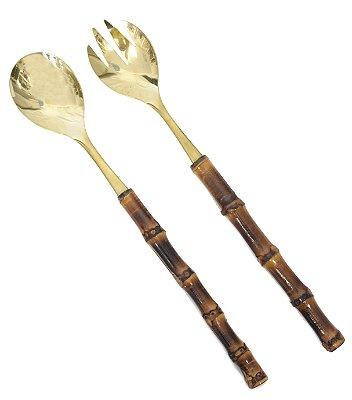 Talher para Servir Salada Bambu e Inox Dourado