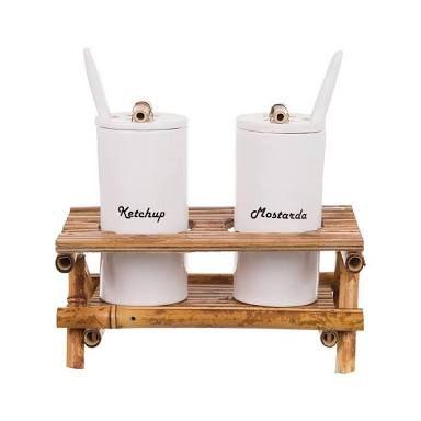Porta Mostarda e Ketchup de Cerâmica e Bambu