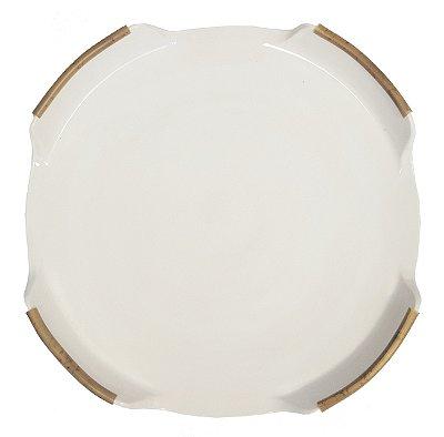 Prato para Servir Pizza em Cerâmica e Bambu