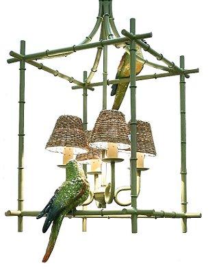 Lustre Gaiola Chinoiserie com Papagaios