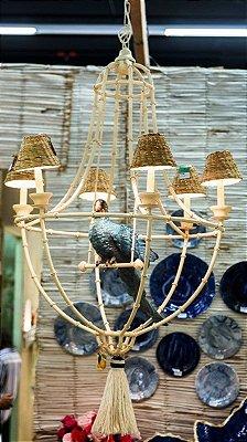Lustre Arara Azul com cúpulas de taboa Zanatta Casa
