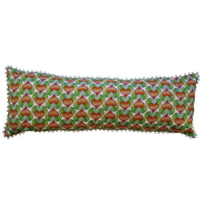 Capa de Almofada corações/listras verdes 25x55 cm