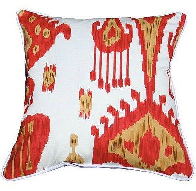 Capa de Almofada Ikat vermelha (costas lisa)