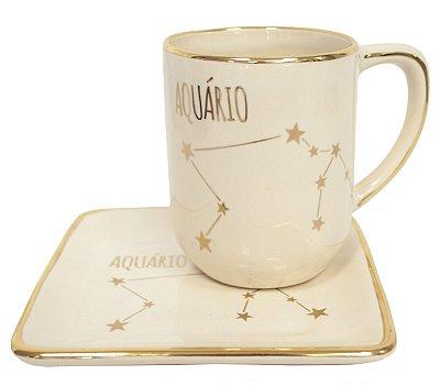Jogo de xícara e pratinho Signos Aquário