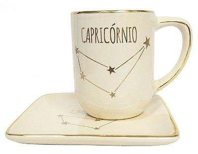 Jogo xícara e pratinho Signos Capricórnio