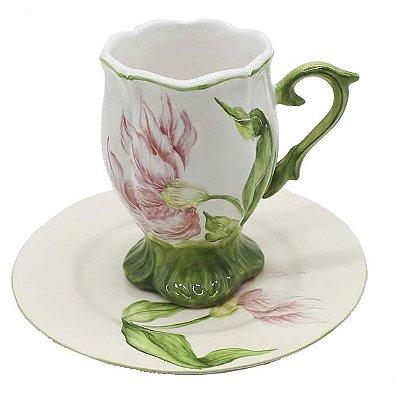 Xícara de chá tulipa rosa Zanatta Casa