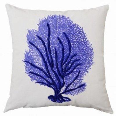 Almofada Coral Azul Carbono Bordada