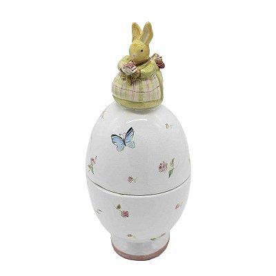 Compoteira Ovo com Aplicação de Coelha M em cerâmica Zanatta Casa