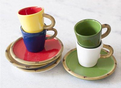 Xícara de Café Bambu Colorida (cj com 4)