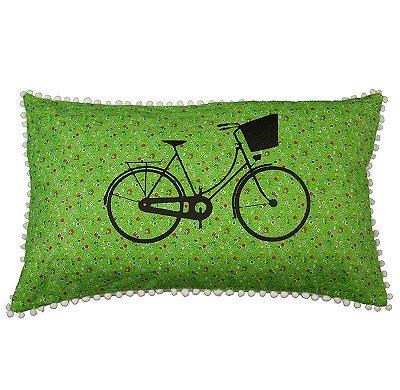 Capa de Almofada Bicicleta flores Verde 31x50 cm