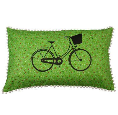 Almofada Bicicleta flores Verde 31x50 cm