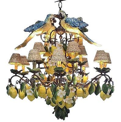 Lustre de Limão Siciliano e Araras de cerâmica Zanatta Casa