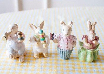Quarteto de Mini Coelhos em cerâmica Zanatta Casa