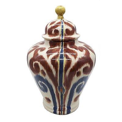 Potiche de cerâmica Ikat Vermelho e Azul Zanatta Casa